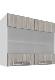 Armário Aéreo Com 2 Portas De Vidro 80X66 Branco E Fresno Mia Coccina Art In Móveis