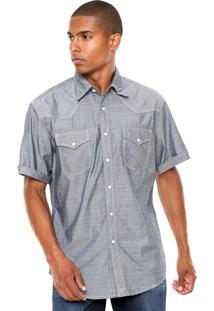 Camisa Jeans Wrangler Full Print Azul