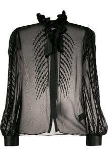 Temperley London Blusa Dusk Com Bordado De Paetês - Preto
