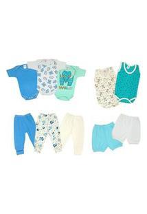 Kit Bebê 10 Pçs Enxoval Verão Body Mijão Azul