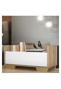 Mesa De Cabeceira 80 Cm C/ Pés Quadrados Multimóveis Rustic/Branco/Natural