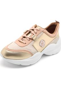 3b96f62158 ... Tênis Couro Capodarte Dad Sneaker Chunky Dourado