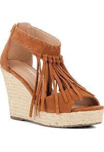 Sandália Anabela Shoestock Corda Franja Feminina - Feminino-Caramelo