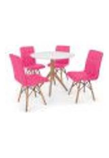 Conjunto Mesa De Jantar Maitê 80Cm Branca Com 4 Cadeiras Eiffel Gomos - Rosa