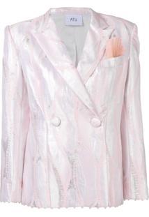 Atu Body Couture Blazer Metalizado Com Botões Duplos - Rosa