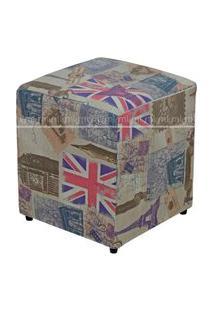 Puff Quadrado Decorativo Tecido Linho London 687 Lyam Decor Colorido