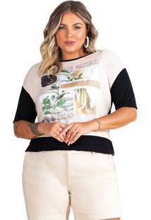 Blusa Feminina Doce Trama Lisamour Plus Size Preto/Bege - Pp