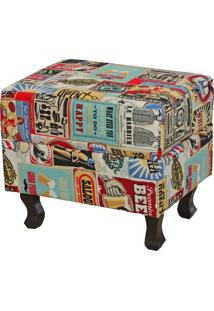 Puff Decorativo Lymdecor Londres Vintage Multicolorido