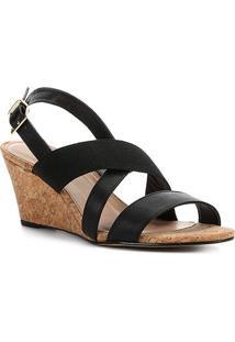 Sandália Anabela Shoestock Elástico Feminina - Feminino-Preto