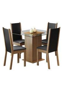 Conjunto Sala De Jantar Aline Madesa Mesa Tampo De Vidro Com 4 Cadeiras Rustic/Preto Cor:Rustic/Preto