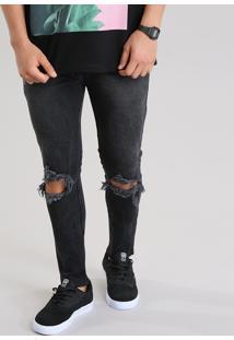 Calça Jeans Super Skinny Destroyed Com Algodão + Sustentável Preta