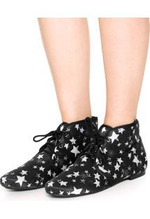 Bota Dafiti Shoes Estampa Estrela Preto