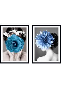 Quadro 67X100Cm Kelda Mulher Com Flores Azuis Nórdico Moldura Preta Com Vidro