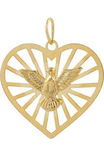 Pingente Narcizza Semijoias Coração Com Espírito Santo Ouro