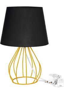 Abajur Cebola Dome Preto Com Aramado Amarelo