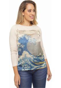 Blusa Sob Estampada Areia Waves Manga Longa