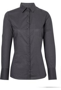 Camisa Dudalina Manga Longa Tricoline Estampado Bolso Feminina (Estampado, 44)