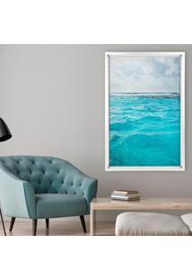 Quadro Com Moldura Chanfrada Ocean Branco - Médio