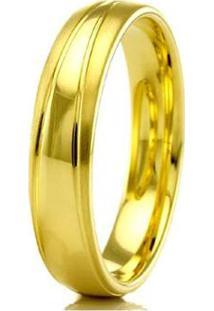Aliança De Casamento Masculina Em Ouro 18K 5Mm Modelo Liso E Fosco Wm Jóias - Masculino-Dourado