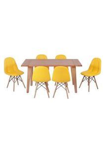 Conjunto Mesa De Jantar Em Madeira 150X80 Vértice + 6 Cadeiras Botonê - Amarelo