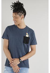 Camiseta Masculina Homer Simpson Com Bolso Manga Curta Gola Careca Azul Marinho