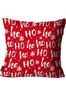 Capa Para Almofada Mdecore Natal Ho Ho Ho ! Vermelha 45X45Cm