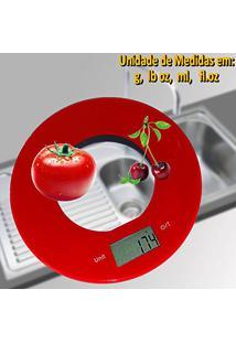 Balança De Cozinha Digital Slim Design Redonda 5 Kgs Vermelho Cbrn01569