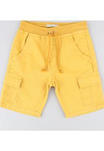 Bermuda Color Infantil Cargo Com Cordão Amarela