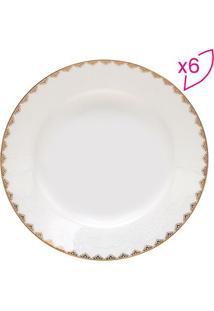 Jogo De Pratos De Sopa Minsk- Branco & Dourado- 6Pçswolff