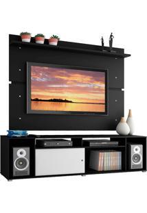 Rack Madesa Cancun E Painel Para Tv Até 65 Polegadas - Preto/Preto/Branco Preto