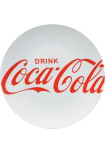 Jogo 2 Pratos Porcelana Jantar Coca-Cola Drink Branco