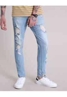 Calça Jeans Masculina Skinny Destroyed Azul Claro