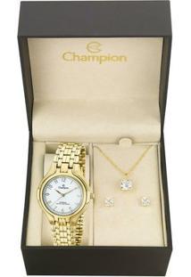 Kit Relógio Champion Feminino Steel - Ca20214W - Feminino-Dourado