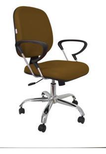 Cadeira Diretor Com Lâmina Com Relax Com Braço E Base Cromada Corano Marrom