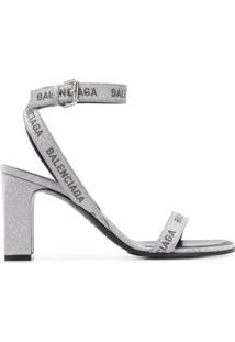 Balenciaga Sandália Com Brilho No Logo E Salto 80Mm - Prateado
