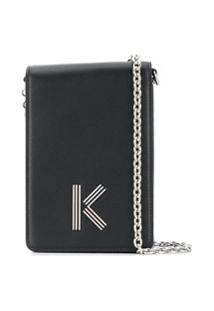 Kenzo Bolsa Transversal De Couro Com Aplicação K - Preto