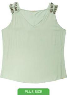 Blusa Plus Size Com Alças E Pedraria Verde