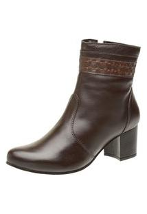 Bota Cano Curto Ousy Shoes Indiana Couro Café