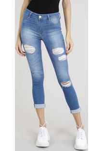Calça Jeans Feminina Cropped Sawary Destroyed Azul Médio