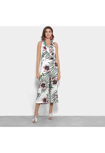Macacão Longo Lily Fashion Regata Floral - Feminino-Branco