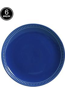 Jogo De Pratos Rasos 6 Pçs Sevilha Azul Navy Porto Brasil