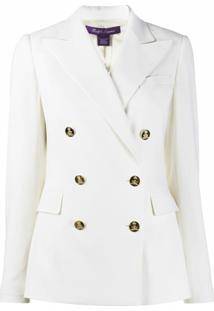 Ralph Lauren Collection Blazer Slim Com Abotoamento Duplo - Branco