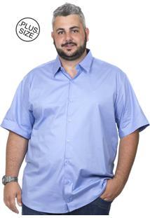 Camisa Plus Size Bigshirts Manga Curta Elastano Azul