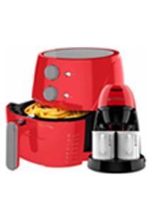 Kit Cadence Colors Vermelho - Fritadeira E Cafeteira Single - 220V