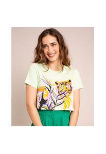 Camiseta Cropped De Algodão Tucano E Tigre Artsy Manga Curta Decote Redondo Verde
