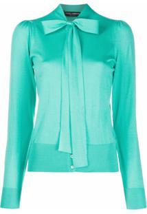 Dolce & Gabbana Blusa De Tricô Com Aplicação De Laço - Azul
