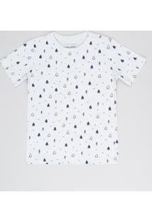 Camiseta Infantil Estampada Étnica Manga Curta Cinza Mescla Claro