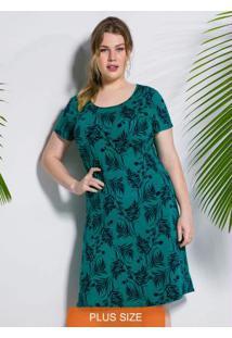 Vestido Verde Escuro Curto Estampado