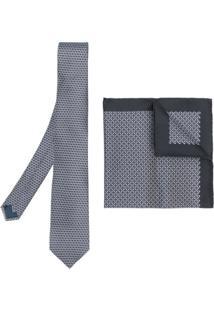 Lanvin Conjunto De Gravata E Lenço De Bolso De Seda - Grey