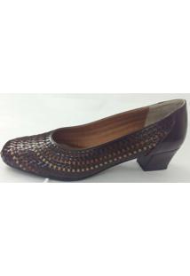 Sapato Feminino Tresse Em Couro Marinucci R12 Marrom/Degradê